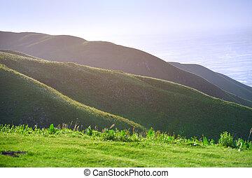 Green hills landscape in England, UK