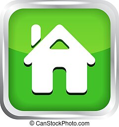 green home button icon on a white