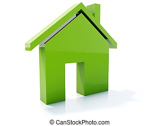 Green home icon isolated on white