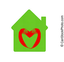 green home icon with heart symbol isolated on white