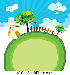 illustration of house with tree and fence on green earth