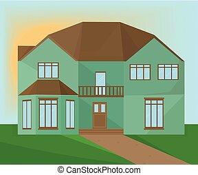 Green home modern architecture facade. Vector illustration