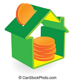 Green home moneybox with coins - Green House moneybox and...