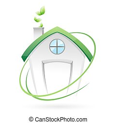 green home - illustration of green home on white background