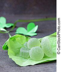 Green homemade fruit jellies jujube
