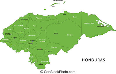Green Honduras map with department borders