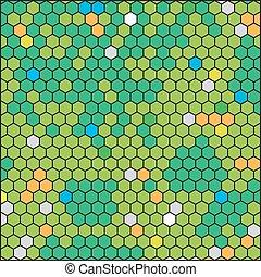 green honeycomb, abstract geometric hexagon grid