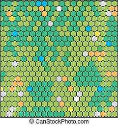 green honeycomb, abstract geometric hexagon grid