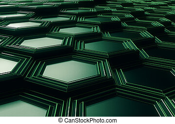 Green honeycomb background closeup