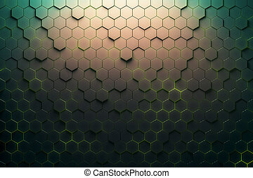 Green honeycomb pattern