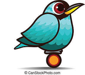 Green Honeycreeper bird cartoon