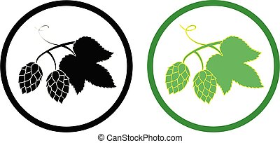 Green hop plant, sketch style set icon