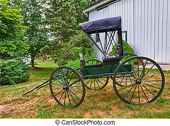 Green horse drawn buggy - HDR image of a green horse drawn...