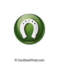 Green Horseshoe Icon Good Luck Symbol