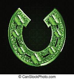 Green horseshoe on a dark background.