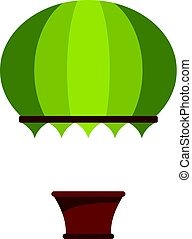 Green hot air balloon icon isolated