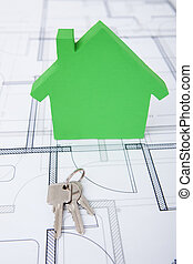 Green House And Keys On Blueprint