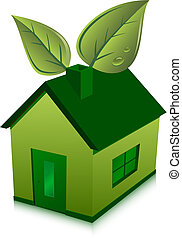 green house and leaves - green eco house and leaves