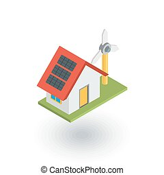Green House concept ecological equipment - solar cells and wind turbine isometric flat icon. 3d vector