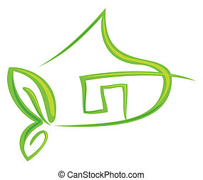 Green house - Concept symbol for green energy company ...