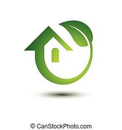 Green house - Eco green house concept icons , vector ...