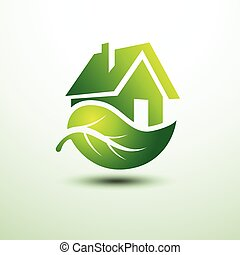 Green house - Eco green house concept signs and icons