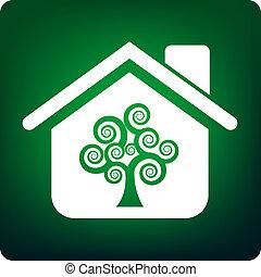 Green house - Tree inside a house