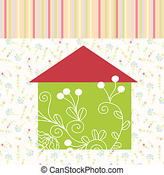 Green house floral background with pattern