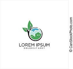 Green House Home Leaf Logo Stock Vector