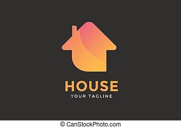 Green house home vector logo