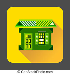 Green house icon, flat style
