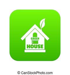 Green house icon green