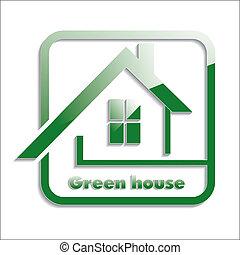 Green house icon. Vector illustration