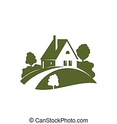 Green house icon with garden tree, plant and lawn