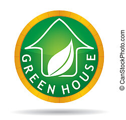 Green house icon with leaf
