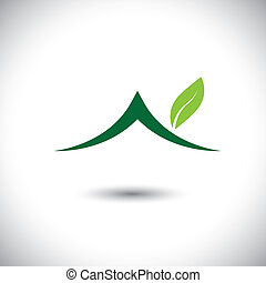 Green house icon with leaves - eco concept vector. This graphic also represents residence built using green technologies, sustainable development, nature conservation, etc