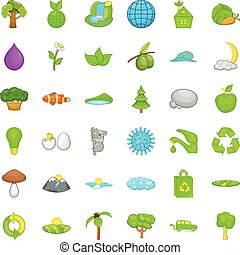Green house icons set, cartoon style