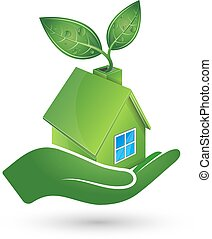 Green house in hand ecology symbol