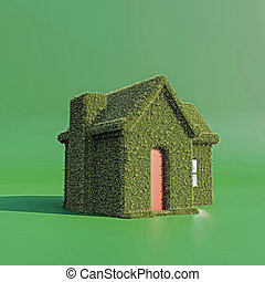green house isolated on green background