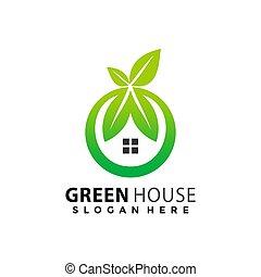 Green House Leaves logo Design vector illustration