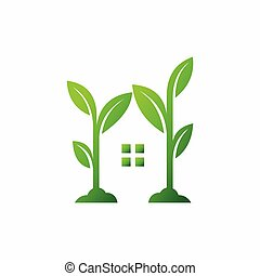 Green house logo and Energy saving concept