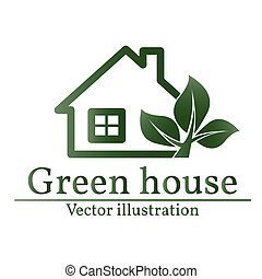 Green house logo. Eco house. Vector.