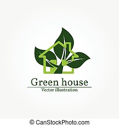 Green house logo. Energy saving concept. Vector illustration.
