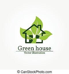 Green house logo. Energy saving concept. Vector illustration.