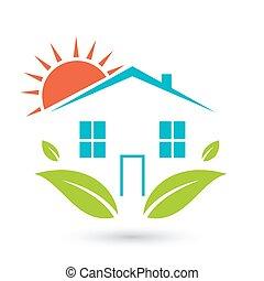 Green house logo. Happy family icon, eco lover.