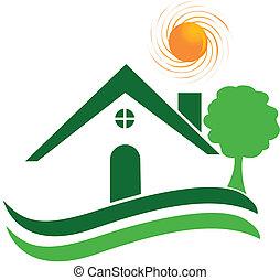 Green house logo vector - Green house, tree and sun logo ...