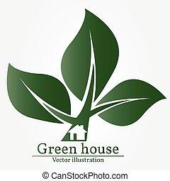 Green house logo. Vector illustration.