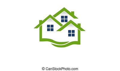 Green house, market real estate, video animation. Natural...