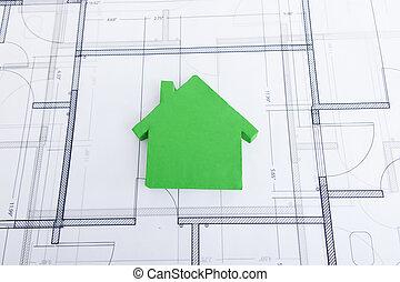 Green House Model On Blueprint - Closeup of green house...