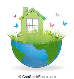 green house on half earth - illustration of green house on...
